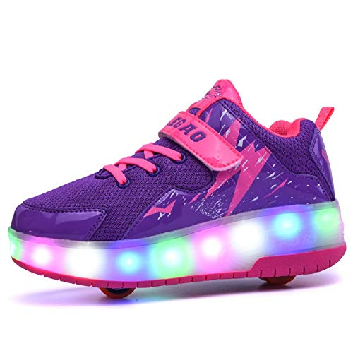 Ehauuo Girls Roller Shoes Kids Sparkling Wheels Shoes Boys Light up Roller Skates Sneakers Rechargeable Flashing Sneakers for Gift (1.5 M US Little Kid, A-Purple)
