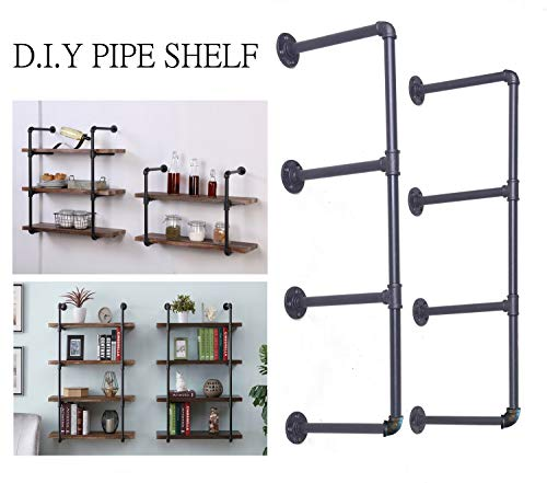 (Diwhy DIY Industrial Black Pipe Bookshelf Wall Ceiling Mounted Open Bookshelf Parts Bracket Kit DIY Project (2 pcs 4 Tier Pipe Shelf))