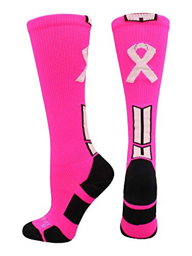 MadSportsStuff Triumph Pink Ribbon Awareness OTC Socks (Neon Pink/Pale Pink, Small)