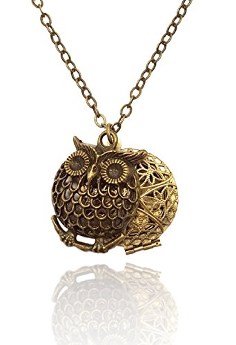 Bronze tone Brass tone Aromatherapy Necklace Essential