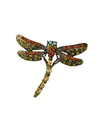 Woogge Brooch For Girl Vintage Lovely Dragonfly Crystal Scarf Lapel Pin Brooches For Women