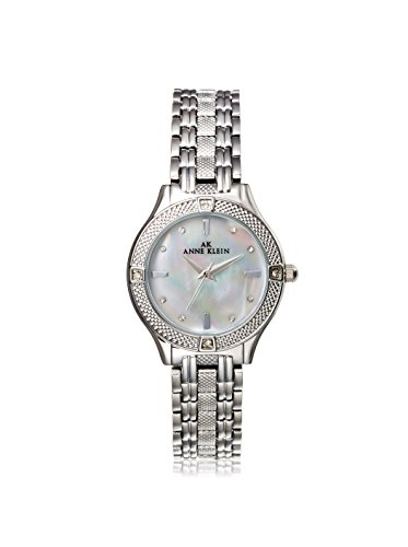 Anne Klein Women's Swaroski Steel Watch, Silver/White