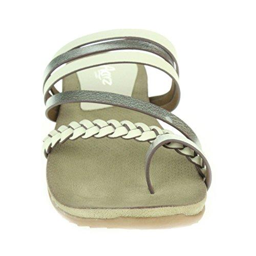 Mujer Señoras Maravilloso Dedo del pie Anillo Strappy playa Fijación de la hebilla Punta abierta Verano Casual Comodidad Plano Sandalias Zapatos Tamaño Blanco