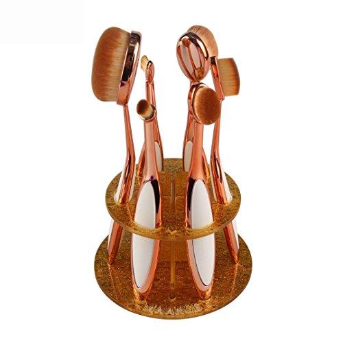 Euone 6 Hole Oval Makeup Brush Holder Drying Rack Organizer Cosmetic Shelf Tool (Gold Oval Shelf)