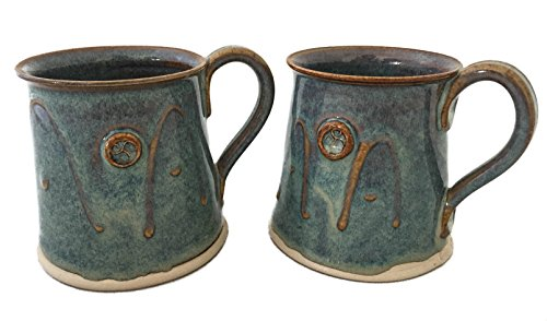 Irish Handmade Coffee & Tea Mug Set.Two Flared Cylinder Hand-Thrown Cups 300ml Green (Stoneware Coffee Cups Japan)