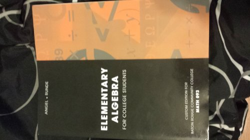 Elementary Algebra for College Students Math 093 (Eighth (Custom Edition for Baton rouge Commnity College))