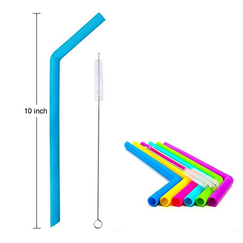 Reusable Silicone Drinking Straws (8 Pack) With 2 Stainless Steel Brushes - FDA Approved - For Safe Eco Living - By HomeBoss by Homeboss (Image #1)