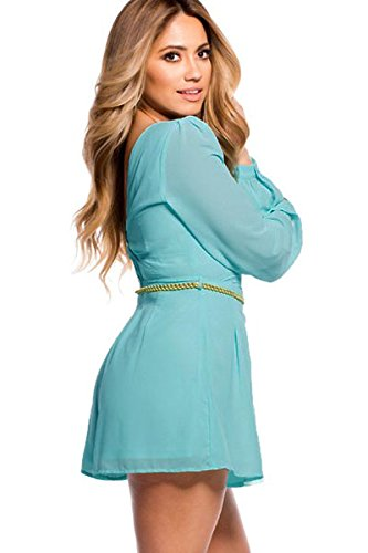 New Damen Sky Blau Long Sleeve Strampler Spielanzug Body Strampelanzug Club Wear Sommer Kleidung Größe 8�?0