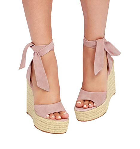 (Fashare Womens Open Toe Tie Lace Up Espadrille Platform Wedges Sandals Ankle Strap Slingback Dress Shoes Pink)