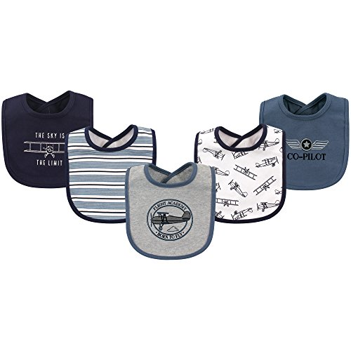 Hudson Baby Baby Cotton Drooler Bib, 5 Pack, Aviation, One Size