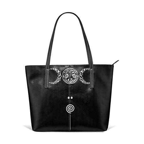 - Pagan Sign Wiccan Triple Moon Goddess Men Women Leather Tote Bags Satchel Top Handle Cross Body Shoulder Hobo Handbags For Ladies Shopping Bag Office Briefcase