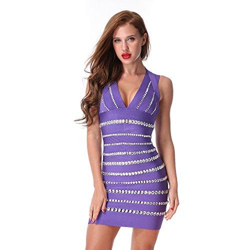 [CIEMIILI Women Short Sleeve Beading V-neck Bodycon Party Bandage Dress] (Sexy Purple Dress)