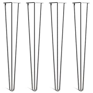 4 x hairpin table legs superior double weld steel construction with free screws build guide. Black Bedroom Furniture Sets. Home Design Ideas