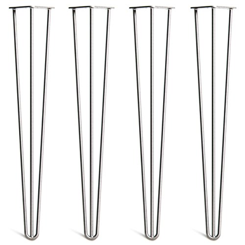 4 x Hairpin Table Legs – Superior Double Weld Steel Construction With FREE Screws, Build Guide & Protector Feet, Worth $10! – Mid-Century Modern Style – 4