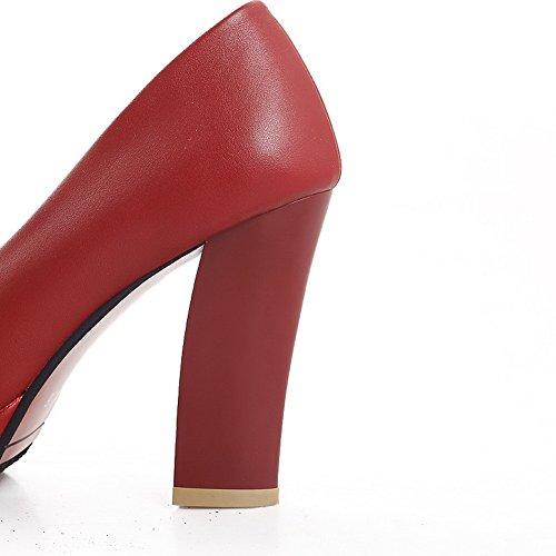 Mujeres redonda rojo tacones PU sólido VogueZone009 punta y Bombas con Material plataforma sólidas Bowknot altos dawnFFCE6x