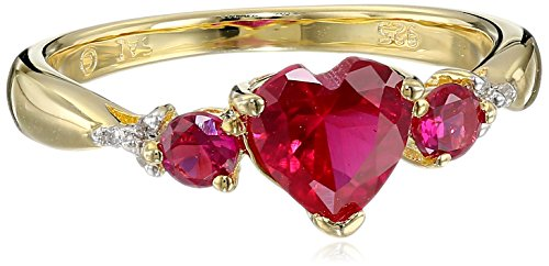 Sterling Silver with Yellow Gold Plating Created Ruby and Diamond Heart Ring (0.02cttw, I-J Color, I2-I3 Clarity), Size 7 (Heart Ruby Ring Diamond)