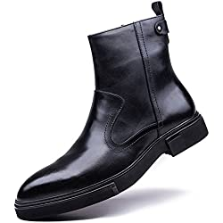 Zorgen Men's High Boots Genuine Leather Zipper Rubber Sole Fashion Chukka Ankle Boots