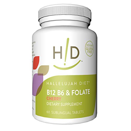 Hallelujah Diet B12, B6 & Folate Dietary Supplements - Cherry Flavored Sublingual Vitamins (60 Tablets) (Best Diet For B12 Deficiency)
