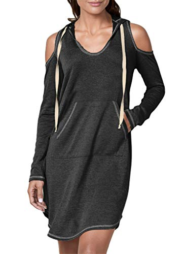 (Blibea Womens Casual Long Sleeve Cold Shoulder Drawstring Slim Fit Hooded Mini Dress with Pocket Small)