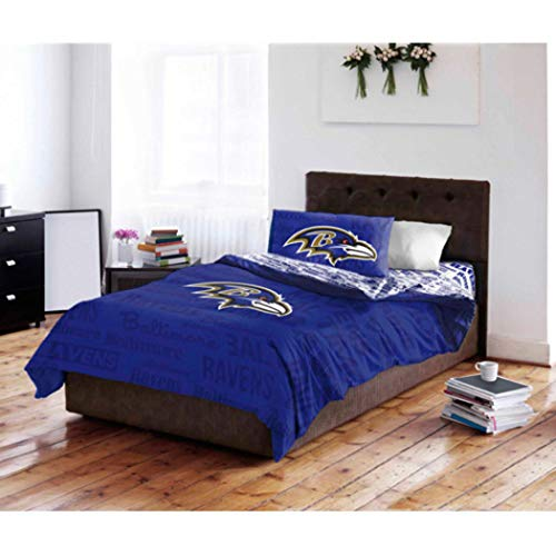 5 Piece NFL Baltimore Ravens Comforter Queen Set, Sports Patterned Bedding, Featuring Team Logo, Fan Merchandise, Team Spirit, Football Themed, National Football League, Blue, Multi, Unisex