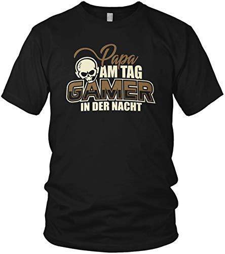 Papa am Tag Gamer in der Nacht - Spruch Motto Geschenk Motiv - Herren T-Shirt und Männer Tshirt