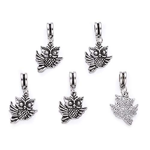 Beadthoven 5pcs Alloy Owl Dangle BeadsAntique Silver Color