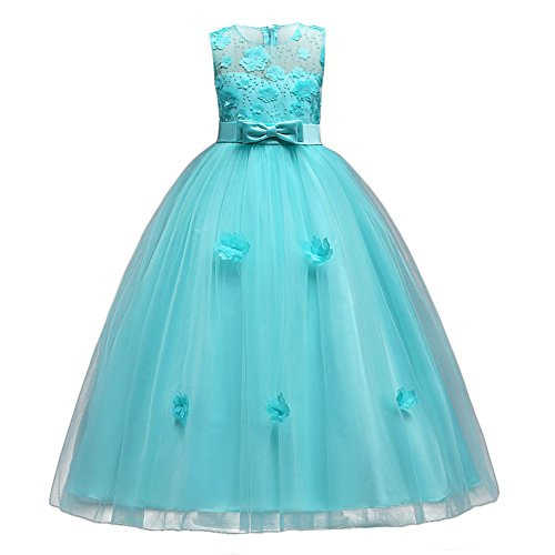 Kids Girls Tulle Princess Long Applique Flower Dress Lace Pageant Wedding Bridesmaid Floor Length Dance Evening Gowns, Turquoise, 10-11