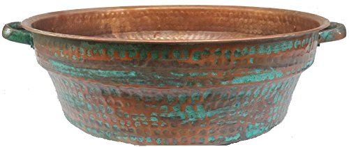 Egypt gift shops 21'' Large Fire Burnt Verde Foot Massage Bath Bucket Handles Pedicure Spa Styling Salon Bowl 14'' Bottom by Egypt Gift Shops
