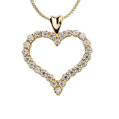 1 Carat Diamond Heart Pendant Necklace in 14k Yellow Gold, 22