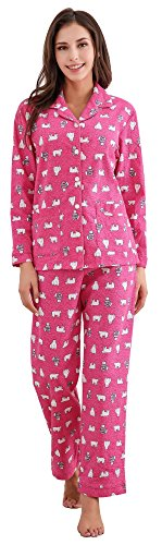 (Richie House Women's Cotton Printed Flannel Two-Piece Set Pajama RHW2774-A-XL)