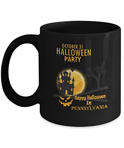 Amazing halloween, party coffee mug - Happy Halloween In Pennsylvania - Funny quote coffee mug For For boyfriend, child On Halloween Day - Black 11oz percet size holder