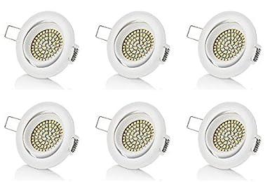 Rund Warmwei/ß 350 Lumen 230V sweet-led 6 x flacher Einbaustrahler LED Wei/ß Schwenkbar 3,5W