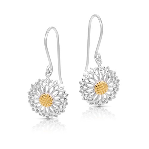 Golden Pollen SunFlower Earrings Never Rust 925 Sterling Silver Natural and Hypoallergenic Hooks For Women and Girls with Free Breathtaking Gift Box for a Special Moment of Love By BLING BIJOUX