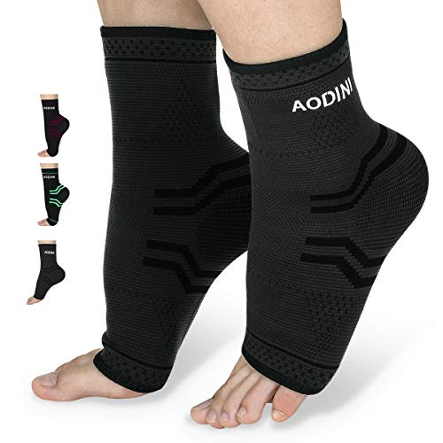 Plantar Fasciitis Socks, AODINI High Arch Support Foot Compression Sleeves for Men & Women, Ankle Support Socks for Foot and Heel Pain Relief, Reduce Foot Swelling and Arch Pain (Black, Large)