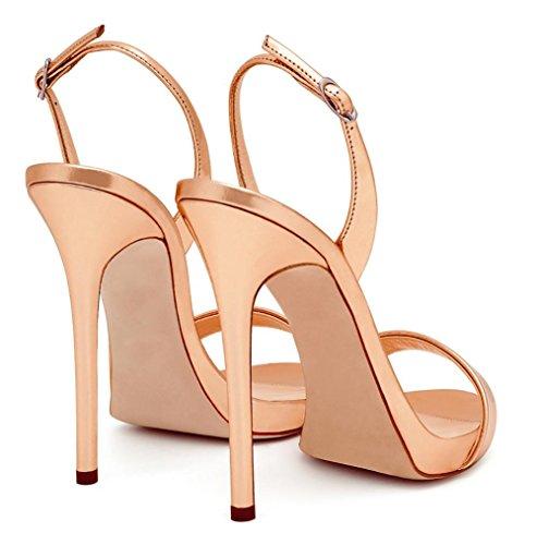 Bellas de hebilla correa de las mujeres con vestido ToePumps sandalias Champagne