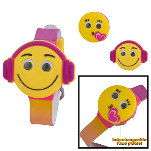 Price comparison product image Sugar Kids Digital LCD Watch with Interchangeable Googly Eyes Face Tops Kissy & Earphones Emoji