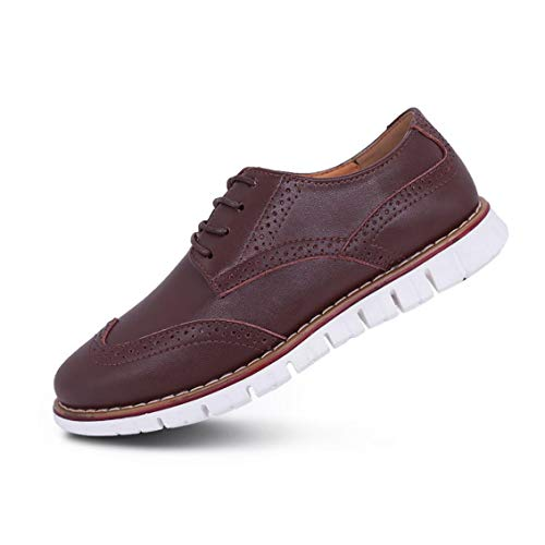 Mens Oxford Casual Classic Modern Dress Walking Shoes Business Lace Up Loafers Dark Brown