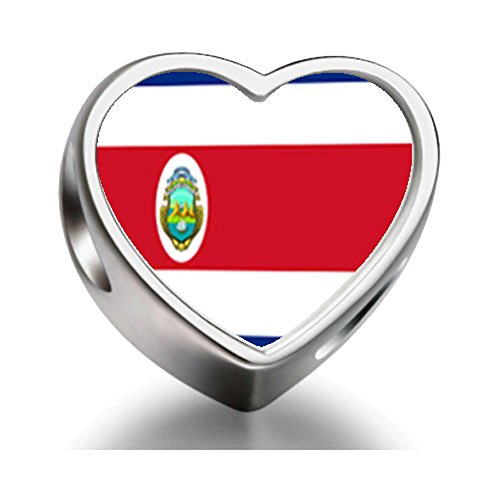 FERVENT LOVE Costa Rica flag Heart Photo Charm Beads