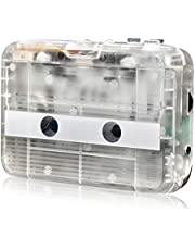 HRNAKDFKL Cassette Player, Transparent Bluetooth Output FM Radio Player Walkman with 3.5mm Audio Jack USB / Battery Operated Portable Tape Player Walkman Type No Need Computer for Entertainment
