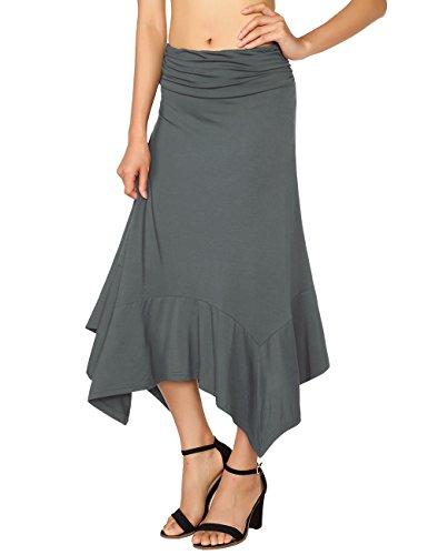 DJT Femme Jupe midi Elastique Casual Uni Asymetrique Longue Maxi Dress Plisse Gris