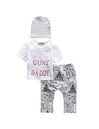 Newborn Baby Boy Girl 3pcs Set Suit T-shirt Top+Cactus Long Pants+Hat