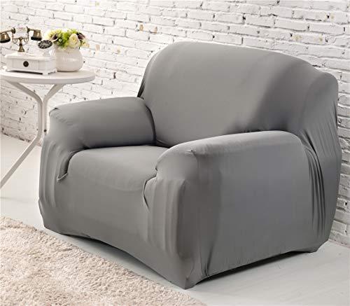 Cornasee Housse de canapé Extensible 1 Places avec accoudoirs,Revêtement de Canapé,Gris