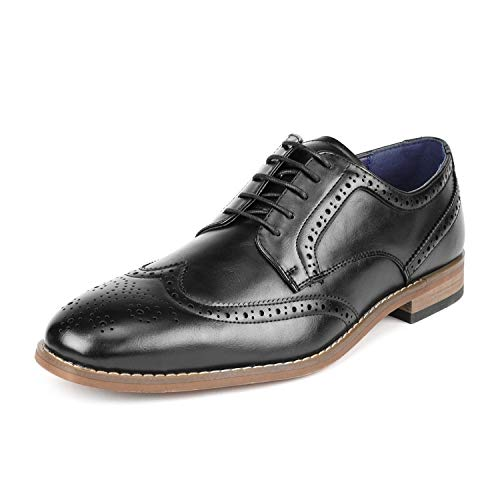 (Bruno Marc Men's William_2 Black Classic Brogue Wing Tip Lace Up Soft Round-Toe Oxfords Dress Shoes Size 11 M US)