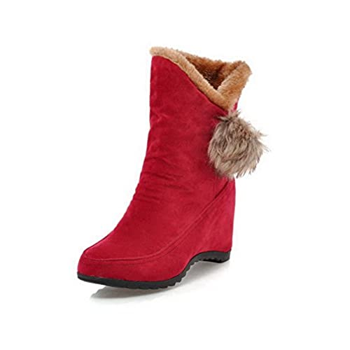 Women's Frosted Pull-On Round Closed Toe High-Heels Low-Top Boots