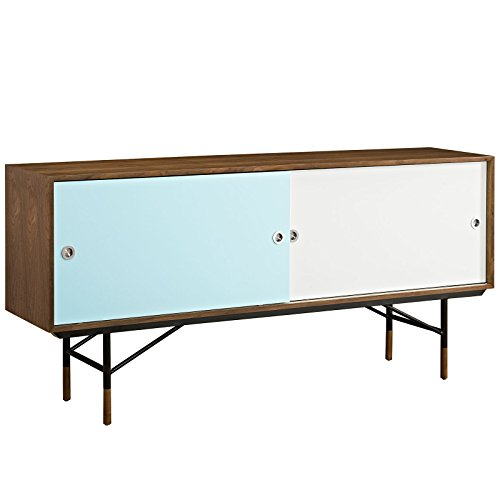 (Modway Envoy Flat Screen TV Stand Credenza - Sideboard - Buffet Server In Walnut White - Mid Century Modern - 60 65 70 75 Flat Screens - Concealed Storage)