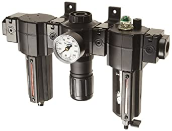 "Dixon E74-4A-MB Norgren Series Automatic Drain Combination Unit with Metal Bowl and Sight Glass, 1/2"" Size, 140 SCFM, 1/2"" Port Size, 5-150 PSI"