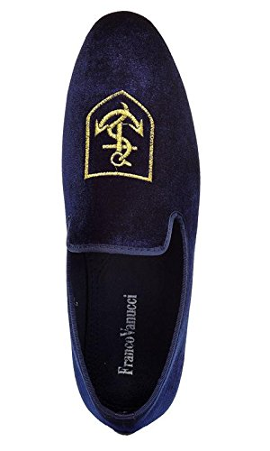 Franco Vanucci Men's Loafer Velvet Slip-On Smoking Slippers Embroidered Night Club Dress Shoe Blue-11 choice online cheap price wholesale price outlet wide range of cheap clearance store 2015 cheap online JSfCDG