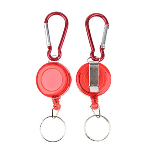 NATFUR 2X Retractable Key Chain Badge Reel Key Holder with 20 Nylon Rope Outdoors Elegant Pretty Key-Chain for Women Cute Perfect Novelty Fine Lovely | Color - Red (Furniture French Atlanta)