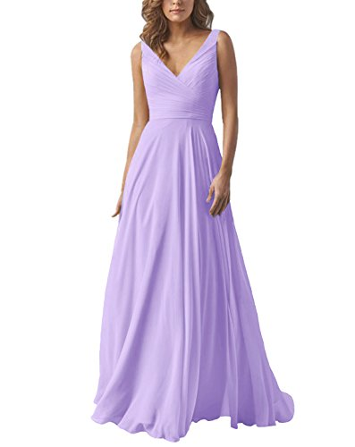 Women's A Line Long Chiffon Bridesmaid Dress Formal V Neck Prom Evening Gown Lilac -