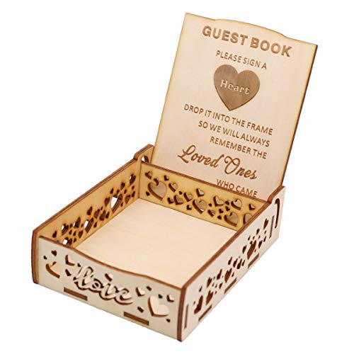 Little Hearts Box - Creawoo Heart Holder Box for Guest Book - Wooden Guestbook Sign Box for Drop Box Wedding Guest Book